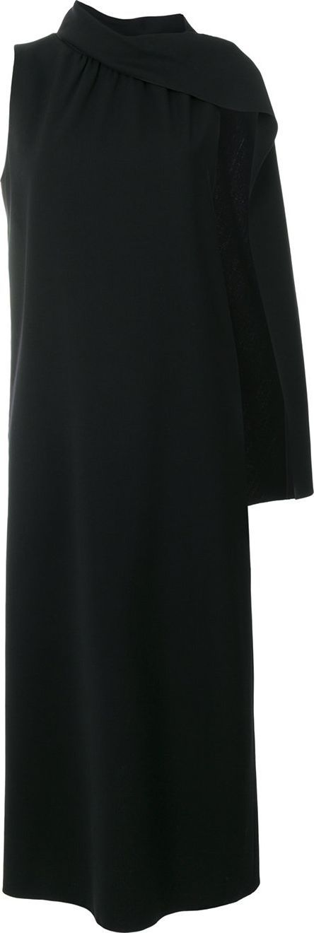Alberta Ferretti one shoulder cape dress