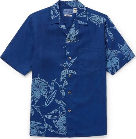 Blue Blue Japan Camp-Collar Printed Lyocell Chambray Shirt