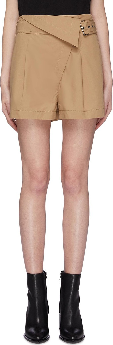 3.1 Phillip Lim Belted foldover waist pleated chino shorts