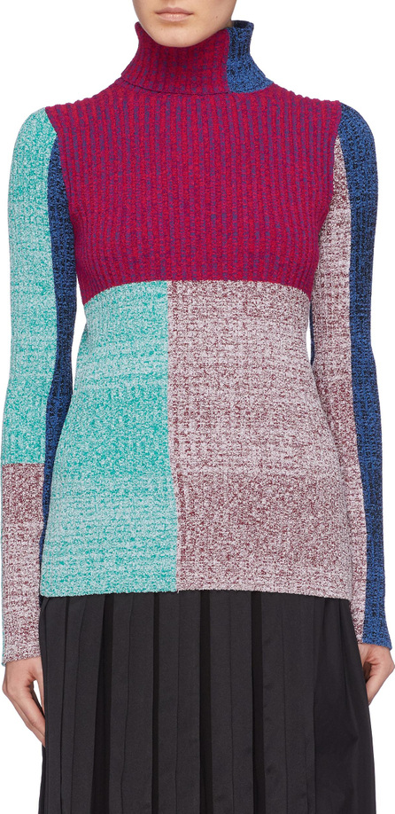 3.1 Phillip Lim Colourblock patchwork rib knit turtleneck sweater