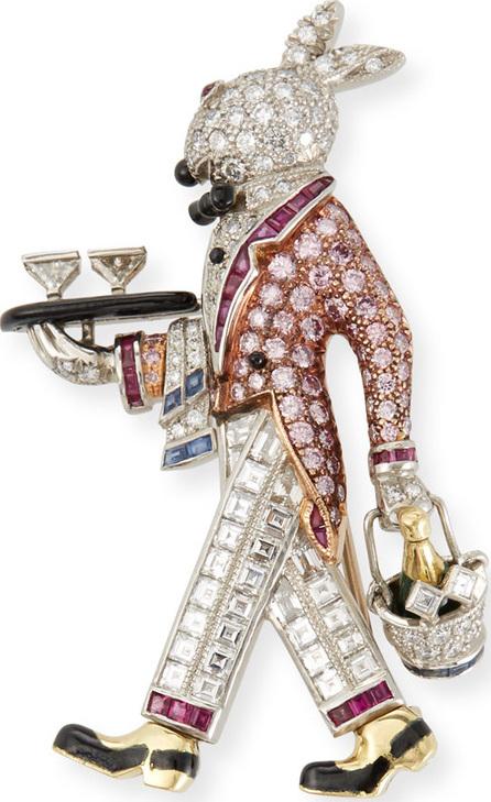LJ West Raymond Yard Bunny Platinum Pin with Diamonds