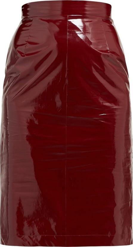 Nº21 High-rise PVC & silk pencil skirt