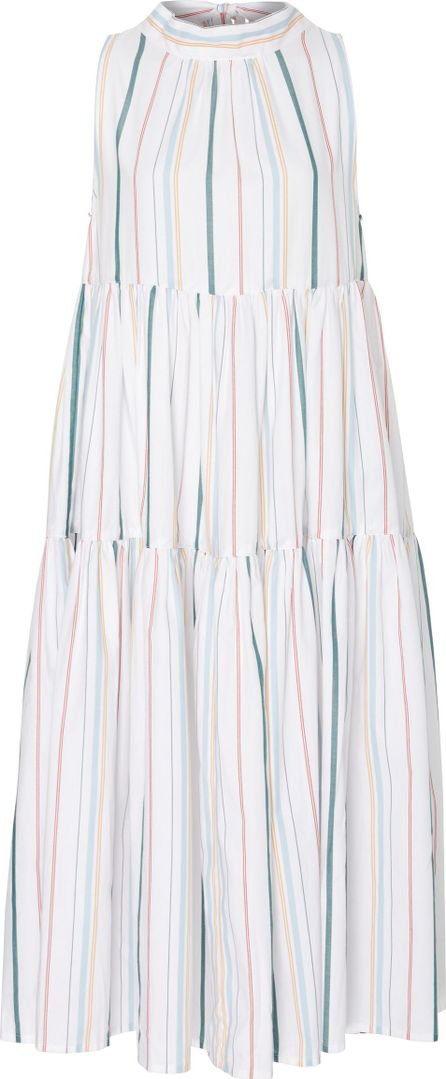 Asceno Bow-Tie Collared Stripe Midi Dress
