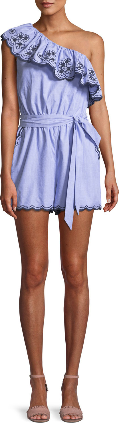 Kate Spade New York one-shoulder daisy embroidered romper