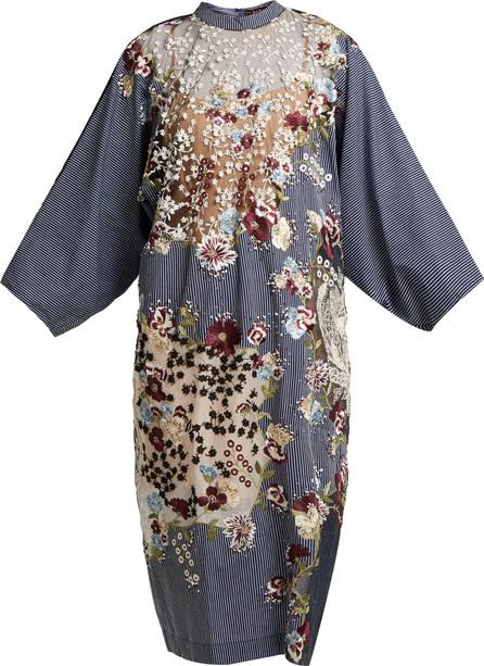 Biyan Floral-embellished cotton-blend dress