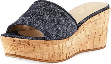 Sesto Meucci Tarie Quilted Denim Wedge Slide Sandal