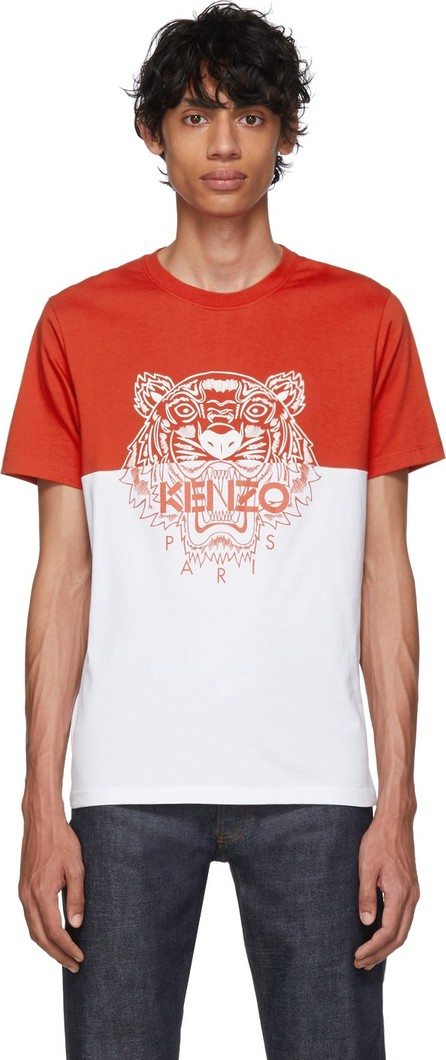 KENZO Red & White Limited Edition Colorblock Tiger T-Shirt