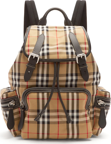 Burberry London England Medium Vintage-check cotton and leather backpack