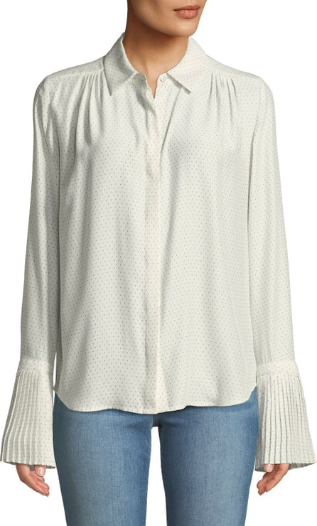 FRAME DENIM Pintucked-Cuffs Button-Front Long-Sleeve Dotted Silk Blouse