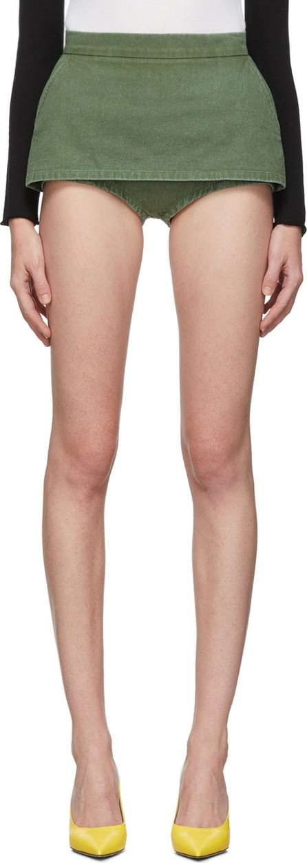pushBUTTON SSENSE Exclusive Khaki Skirt Covered Super Shorts