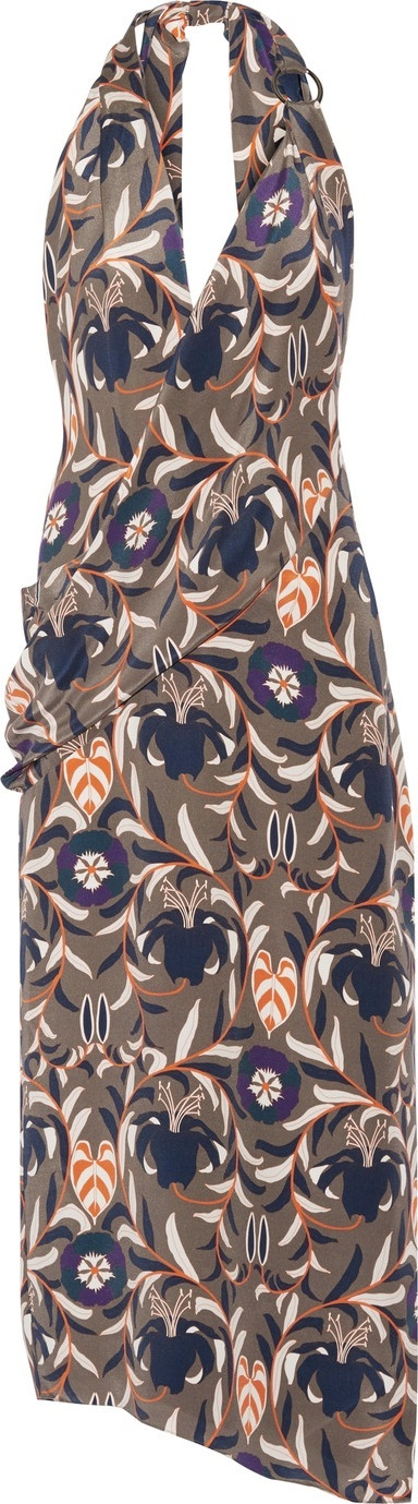 Haney Madison printed silk halterneck dress