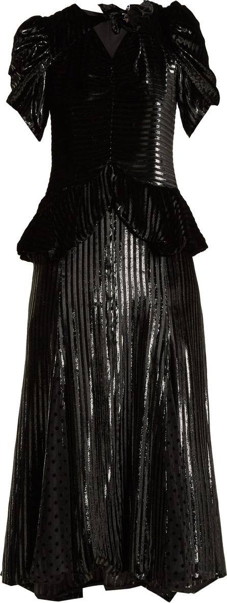 Erdem Dianthia striped velvet midi dress