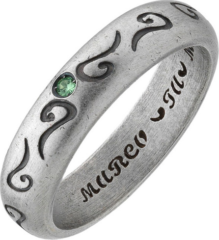 Marco Dal Maso Men's Silver Band Ring with Green Sapphire, Size 10