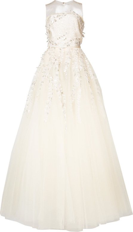Appliquéd embroidered gown