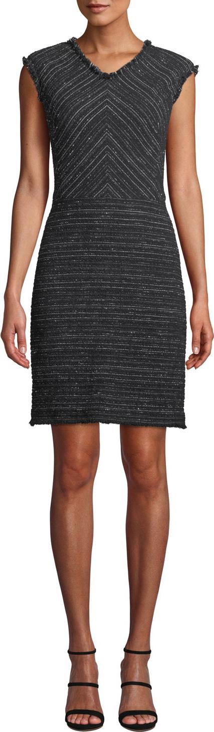 Rebecca Taylor Sleeveless Stretch-Tweed Short Dress