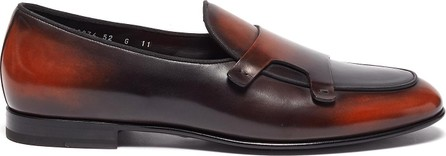 Santoni 'Hollywood' apron front double monk strap loafers