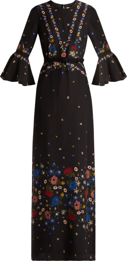 Erdem Linzea fluted-sleeve silk dress