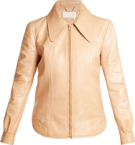 Chloe Dog ear-collar patent-leather jacket