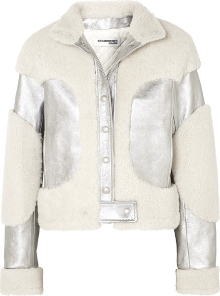CourrèGes Metallic leather and shearling jacket