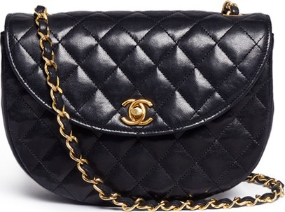 Vintage Chanel Quilted leather half moon flap bag