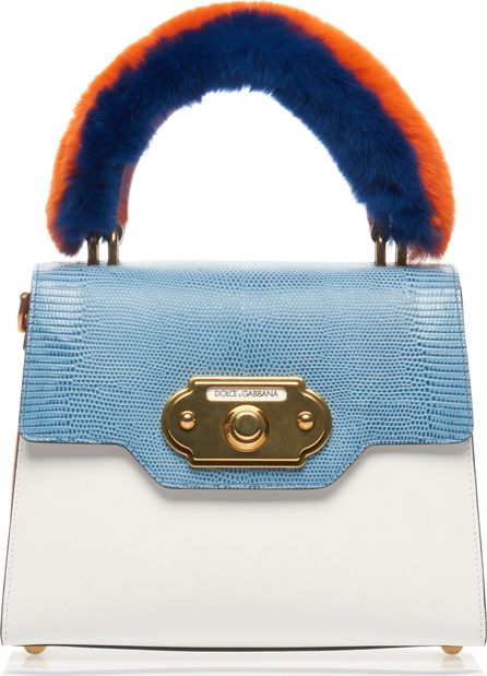 Dolce & Gabbana Multicolor Leather, Reptile and Fur Bag