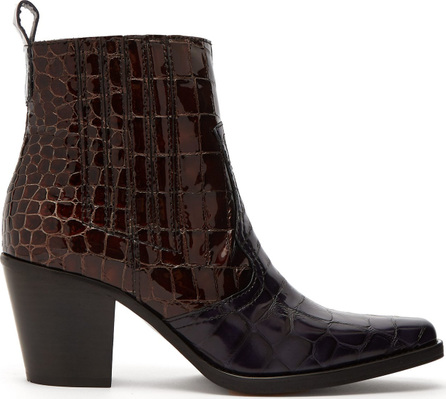 Ganni Callie crocodile-effect patent-leather ankle boots
