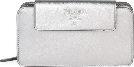 Prada Metallic Saffiano Leather Mini Metal Oro Tab Tech Crossbody Bag
