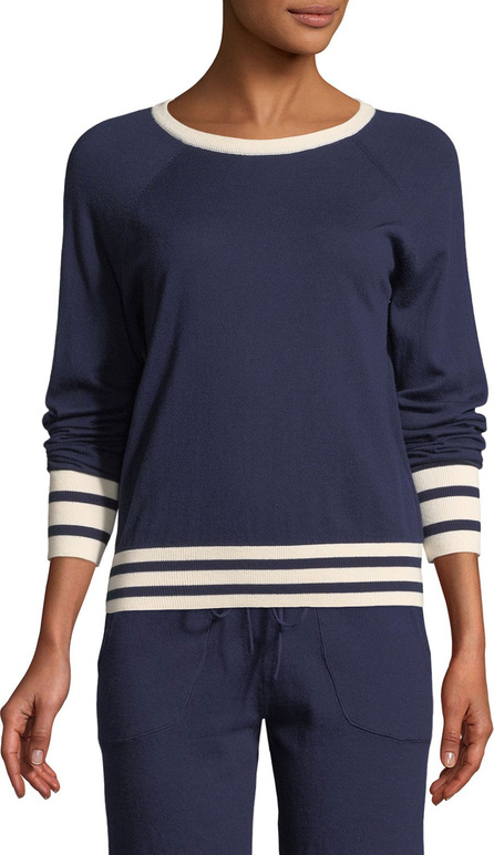 Equipment Axel Striped-Trim Cropped Tennis Sweater
