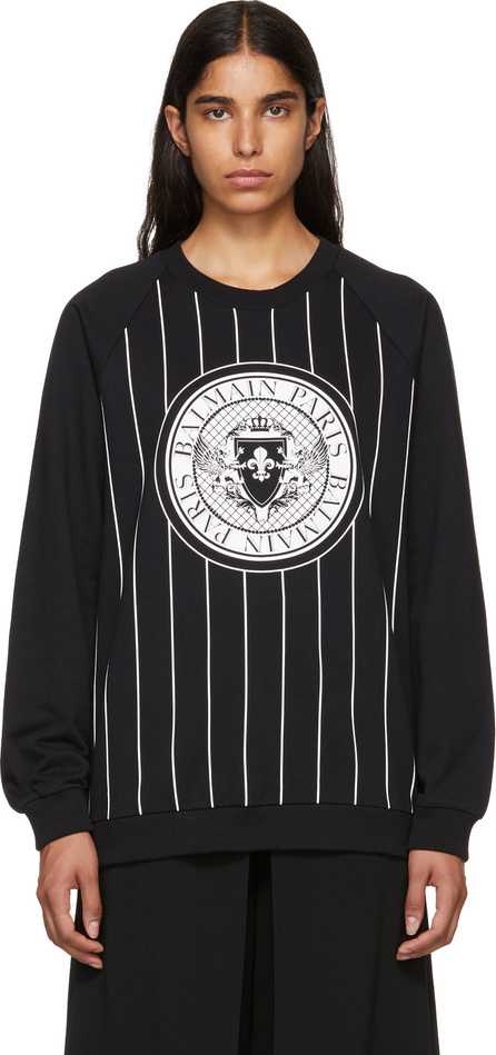 Balmain Black Striped Baseball Sweatshirt