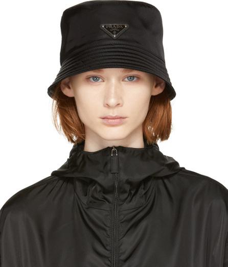 Prada Black Logo Bucket Hat