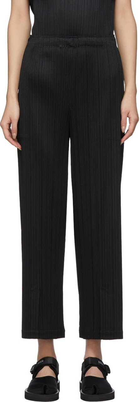 Pleats Please By Issey Miyake Black Pleats Vented Trousers