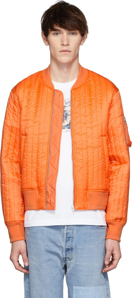 Helmut Lang Orange Quilted Nylon Bomber Jacket