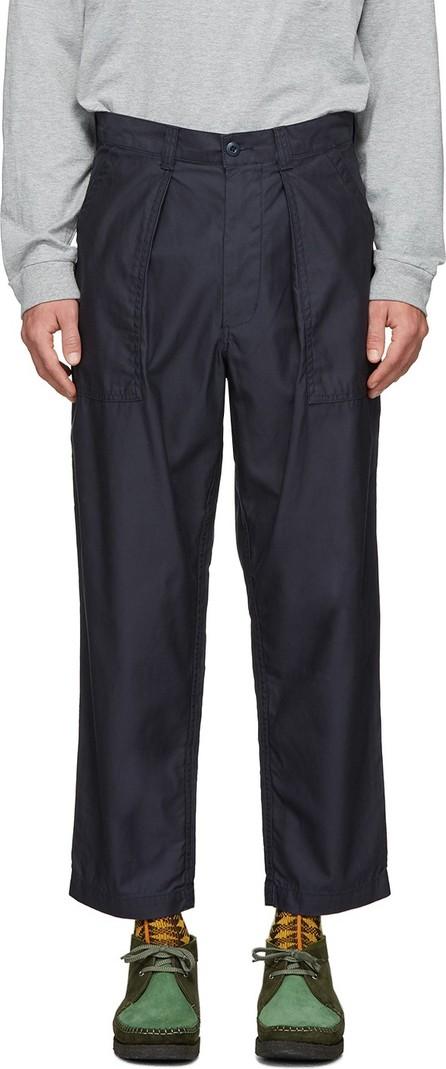 Beams Plus Navy Pleated Sateen Trousers