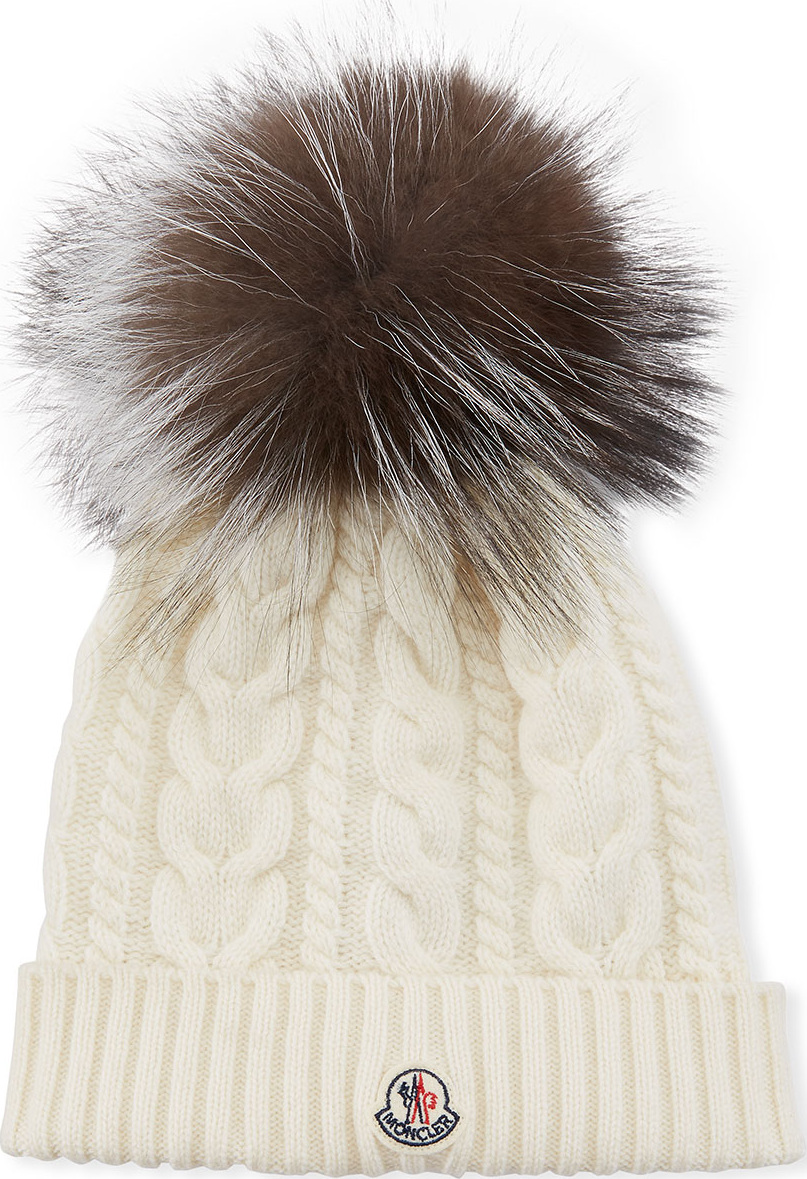 e0caeb3280aed discount code for moncler cable knit beanie hat w fur pompom 2d8ea 7b45e