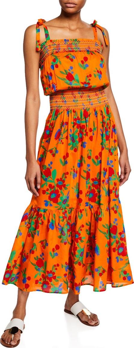 Tory Burch Floral-Print Smocked Cotton Maxi Dress