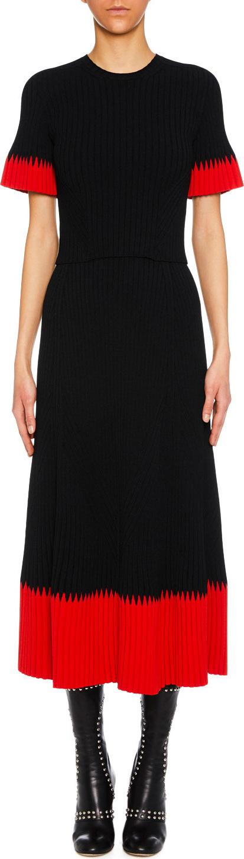 Alexander McQueen Jewel-Neck Short-Sleeve Ribbed Midi Dress w/ Contrast Tips