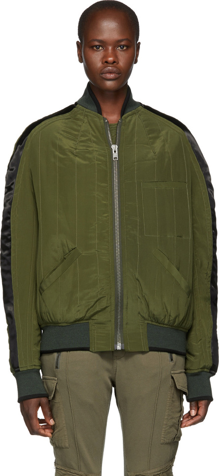 Haider Ackermann Green Sophora Silk Bomber Jacket