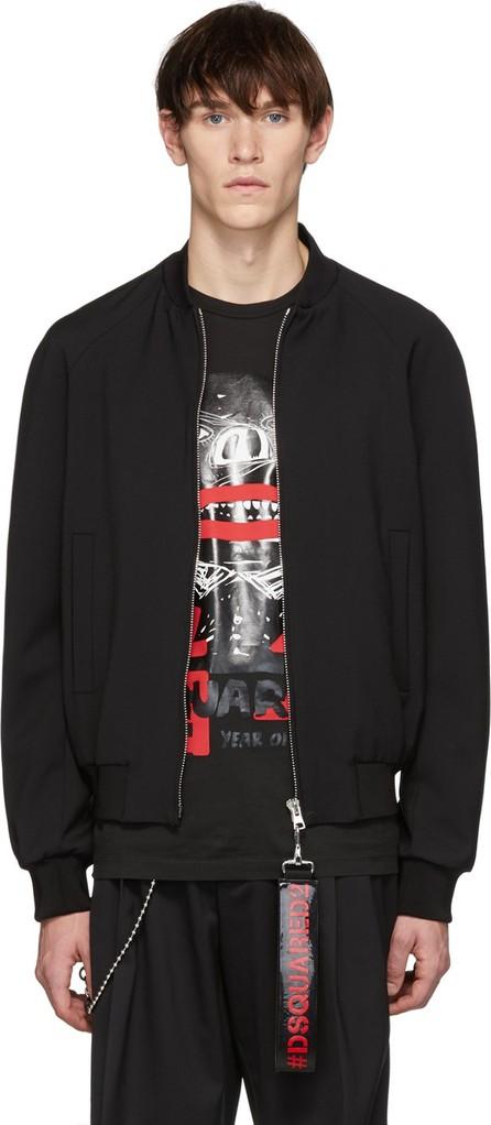 DSQUARED2 Black Punk Logo Tape Classic Bomber Jacket