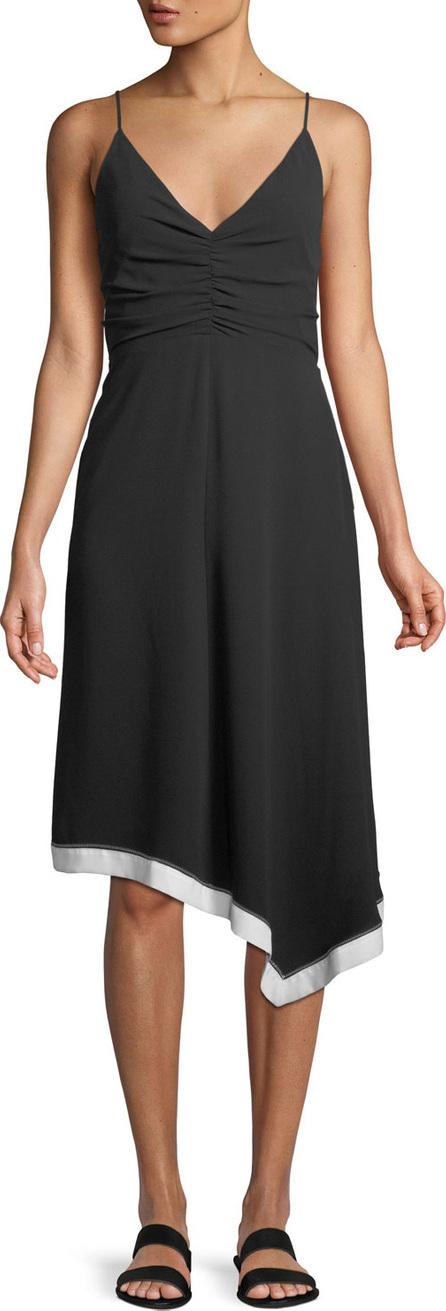 HALSTON HERITAGE Ruched-Front V-Neck Colorblocked Dress