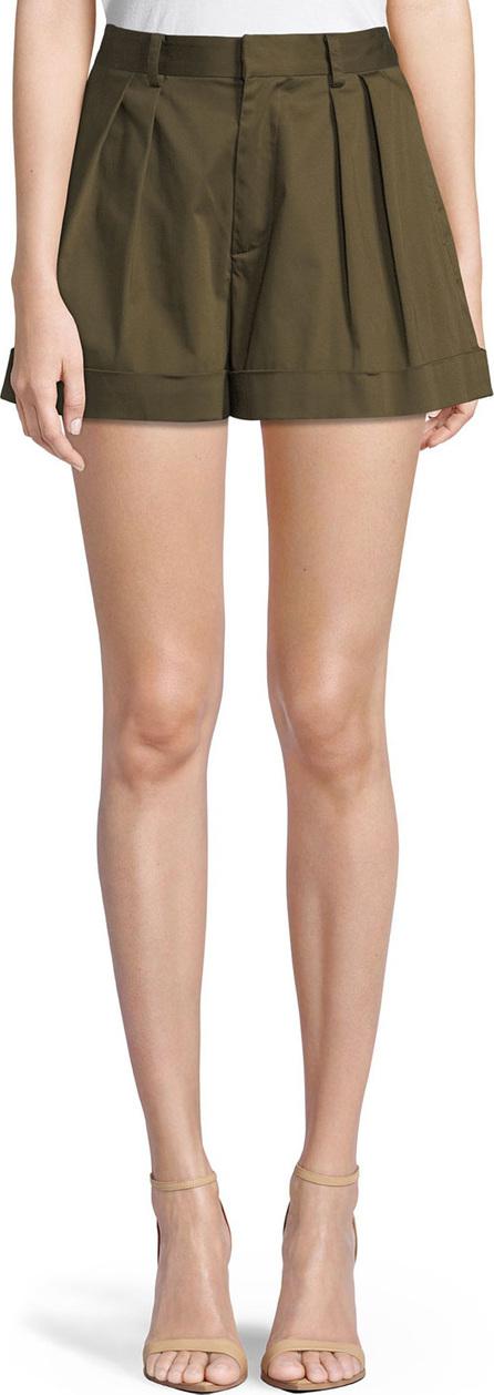 Alice + Olivia Conry High-Waist Pleated Cuff Shorts