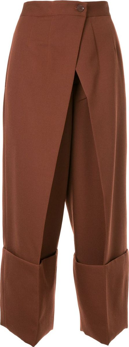 Astraet wrap front cropped trousers