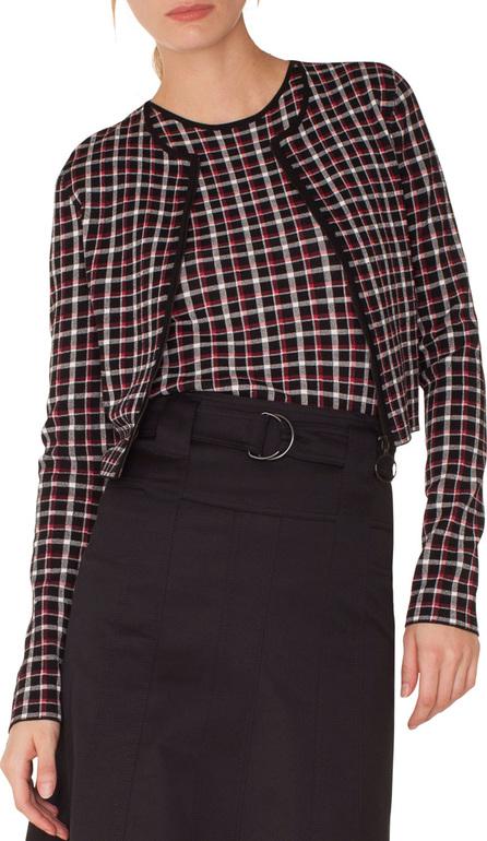 Akris Punto Long-Sleeve Zip-Front Glen Check Knit Bolero