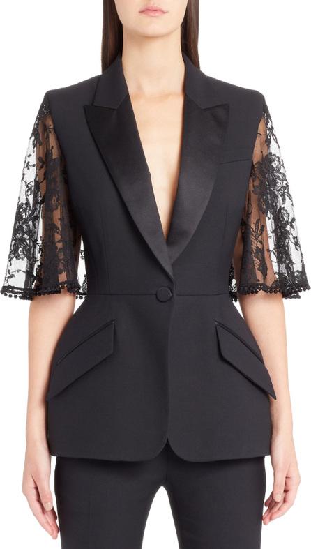 Alexander McQueen Lace Cape Wool & Silk Blend Blazer