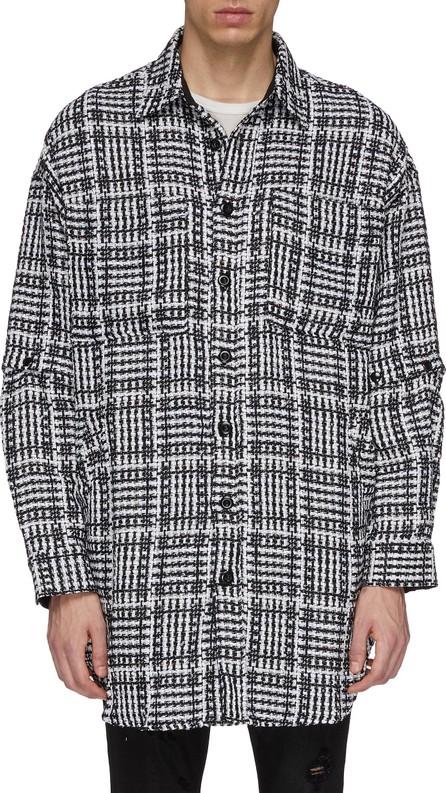 Faith Connexion Detachable sleeve check plaid tweed shirt jacket