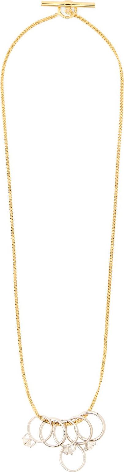 Jil Sander Crystal-embellished ring-pendant necklace