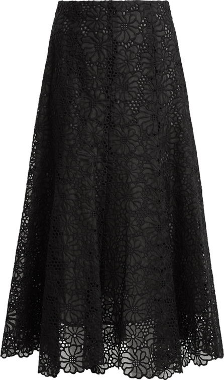 Rebecca Taylor Malorie floral-lace embroidered silk skirt