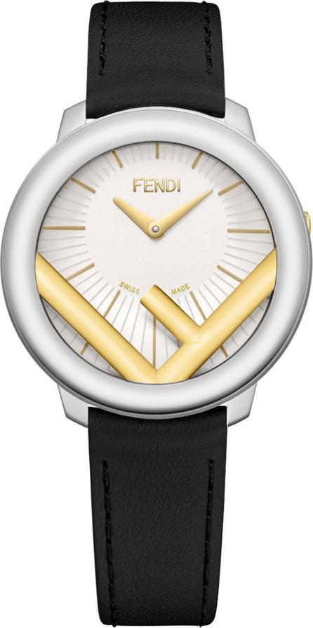 Fendi 36mm Run Away Watch with Leather Strap, Black/Golden