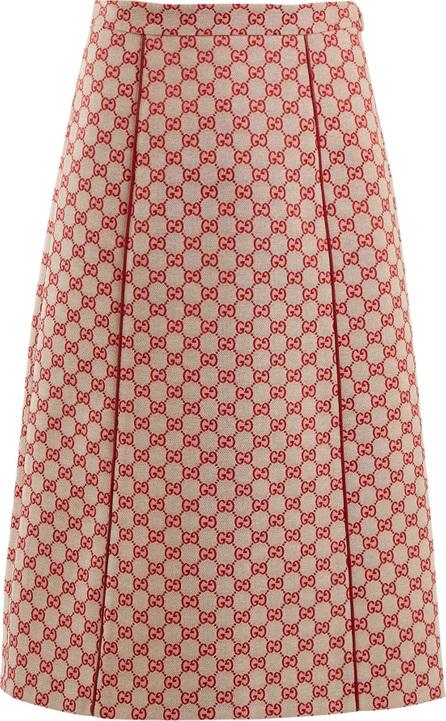 Gucci GG logo-jacquard cotton-blend skirt