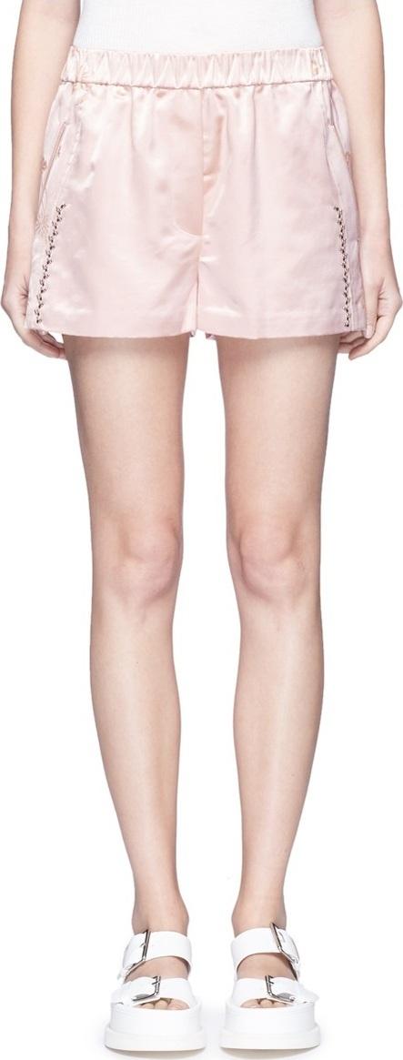 3.1 Phillip Lim 'Western' stud floral jacquard satin bloomer shorts
