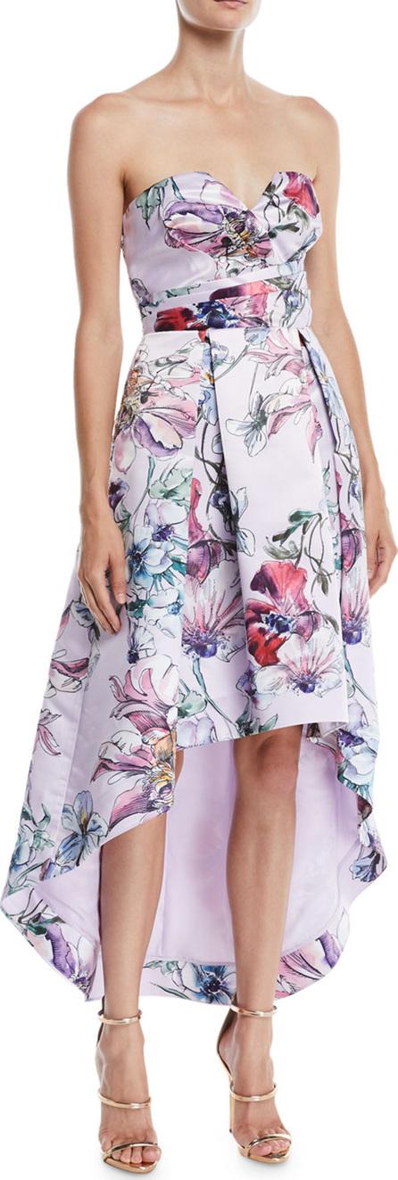 Parker Clemson High-Low Dress w/ Floral Print
